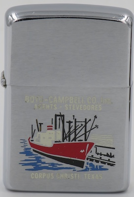 1973 Zippo with an image of a docked cargo ship for Boyd-Campbell Co. Inc. - Agents-Stevedores - Corpus Christi, Texas