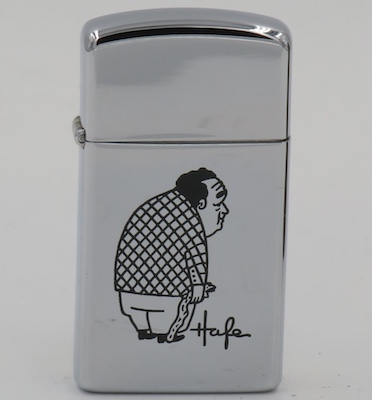 "1969 slim Zippo with a sad-looking hunched man with what looks like a walking stick.  The meaning of ""Hafe"" is unknown.  It is not an acronym for ""High Altitude Flatus Expulsion"" since that term did not exist until the 1980's"