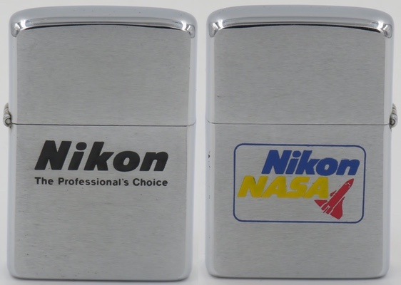 NASA wanted a more portable camera for its space missions, it selected Nikon as a special manufacturer. This two-sided Zippo is from 1980