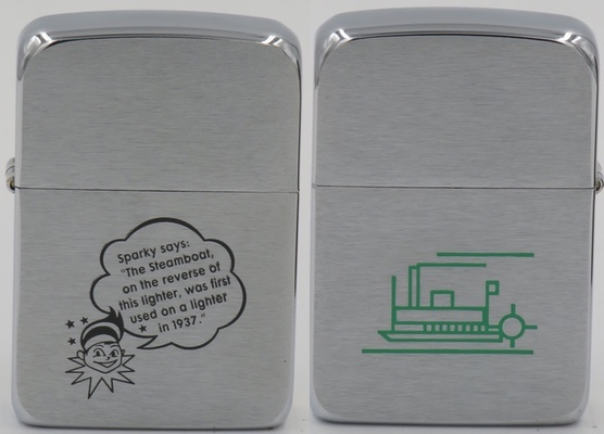 """2002 Zippo replica of the paddle boat Zippo shown above. """"Sparky says: The Steamboat on the reverse of this light was first used on a lighter in 1937"""