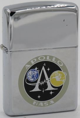 1994 high-polish Zippo with the NASA Apollo insignia. One peculiar difference from the 1966 or 1976 versions above is that the colors of the moon and earth have been reversed