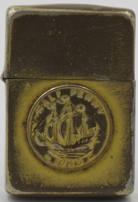 Trench Art Zippo with English Half-Penny painted gold