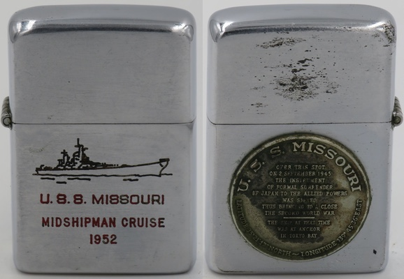 1952 USS Missouri Zippo commemorating the 1952 Midshipman Cruise