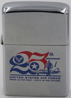 """1972 Zippo commemorating 25th Anniversary United States Air Force """"Pride in the Past - Faith in the Future"""