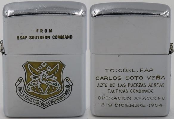 "1963 Zippo for USAF Southern Command logo on front, ""To: Corl. FAP Carlos Soto Vera Jefe de Fuerzas Aereas Tacticas Combinado Operacion Ayacucho 6-9 Diciembre 1964"""