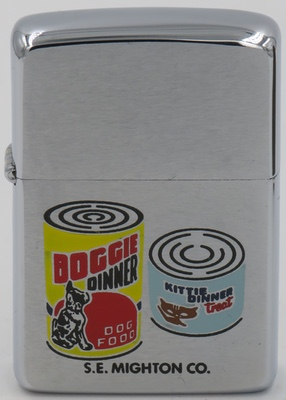 1964 Zippo with cans of Doggie Dinner Dog Food  and Kittie Dinner Treat from a pet food manufacturer in Bedford Ohio