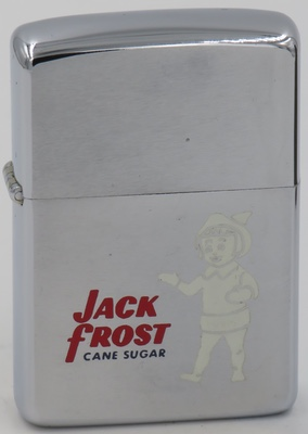 """1967 Zippo for Jack Frost Cane Sugar.The """"Jack Frost""""brand was introduced by National Sugar Refining Co. in 1929"""