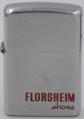 """1951 Zippo for Florsheim Shoes.Florsheim & Co. was founded in 1892 by Milton S. Florsheim. He and his father Sigmund Florsheim made the first shoes in Chicago. By the time of the Great Depression, the company had """"2,500 employees, 5 factories, 71 retail outlets, 9,000 dealers and a network of regional wholesale distributors"""""""