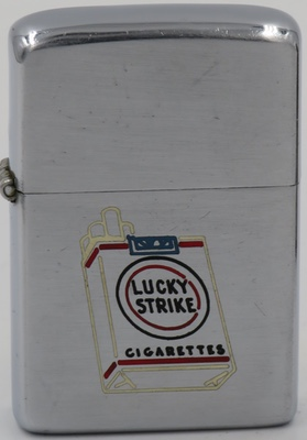 1952-53 Zippo with line-drawn advertising for Lucky Strike which was the top-selling cigarette brand in the United States during the 1930s