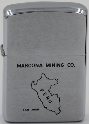 1960 Zippo advertising Marcona Mining Company. The US company was named after an area where a large iron mine, the Marcona mine,located near the coastal town of San Juan de Marcona in western Peru.