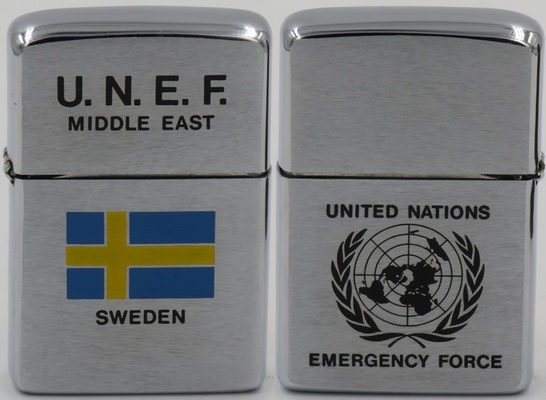 1976 Zippo for the United Nations Emergency Force in the Middle East. Following breakout of hostilities in the Middle East, the UN Security Council sent a 7,000-man U.N. Emergency Force (UNEF) to the area to observe the cease-fire and to do its best to prevent a recurrence of the fighting. The Force consists of contingents from Austria, Canada, Finland, Ghana, Indonesia, Ireland, Panama, Peru, Poland, Senegal and Sweden