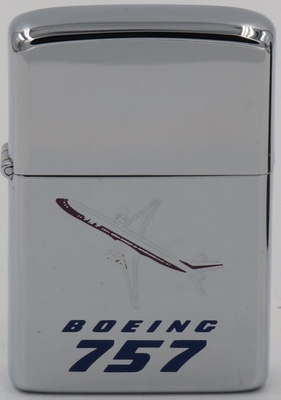 1982 Zippo with a graphic of the Boeing 757. The 757 is a mid-size, narrow-body twin-engine jet airliner and is Boeing's largest single-aisle passenger aircraft and was produced from 1981 to 2004