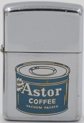 1961 Zippo for Astor Coffee, one of the first coffee brands that adopted vacuum packed technology to preserve coffee's freshness. The brand is no longer in existence.