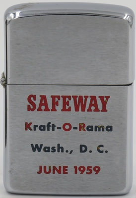 """1959 Zippo for Safeway, a major supermarket chain founded in 1915. """"Kraft-O-Rama"""" involved the promotion of Kraft Food products within its stores"""