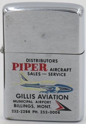 1963 Zippo with graphic advertising the Piper Aircraft brand