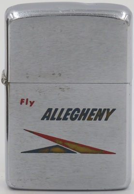 1964 Zippo. Allegheny Airlines dates back to 1946 and is now owned by US Air. It serves some 38 cities in twelve states in the Eastern United States