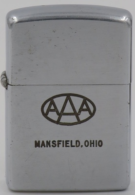 1953 Zippo for AAA of Mansfield, Ohio. The American Automobile Association was formed in 1902