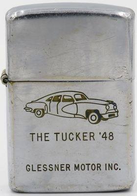 """This line-drawn 1949 Zippo for Glessner Motor Inc advertises  The Tucker '48 """"Torpedo""""  automobile. Conceived by Preston Thomas Tucker,the Tucker '48 was lower, longer and faster than any other American car at the time and was advertised as """"the car you have been waiting for."""" Only fifty-one Tuckers were produced before the Securities and Exchange Commission forced the Tucker Corporation's plant to shut down, putting an end to the independent automobile manufacturer."""