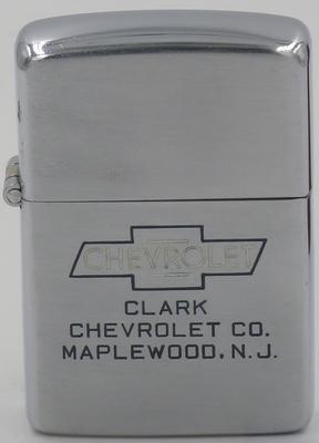 1946-49 line-drawn Zippo with Chevrolet logo advertising Clark Chevrolet in Maplewood NJ