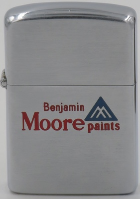 1954-55 Zippo for Benjamin Moore paints, a company that produces paint. It is owned by Berkshire Hathaway. Founded in 1883, Benjamin Moore is based in Montvale, New Jersey