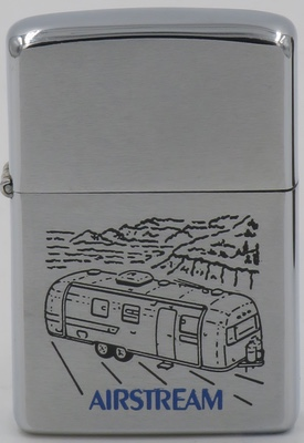 1977 Zippo for Airstream, Founded in 1931, Airstream is a brand of luxury trailers which are easily recognized by the distinctive shape of their rounded polished aluminum coachwork as depicted in the graphic