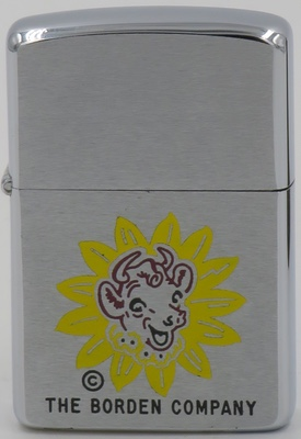 """1958 Zippo with an Elsie the Cow graphic for """"The Borden Company"""" which was a major producer of dairy and pasta product.   Named one of the Top 10 Advertising Icons of the 20th Century by  Ad Age  in 2000, Elsie the Cow has been among the most recognizable product logos in the United States and Canada"""
