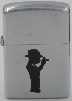 1952-53 Zippo with the silhouette of a short well dressed photographer with a hat