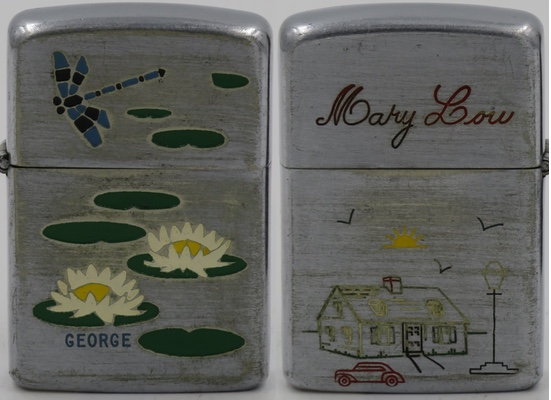 """1948 employee engraved Zippo with the classic lily pond design on the obverse as well as the name """"George"""". The reverse has the name """"Mary Lou"""" on the lid (presumably Mary Lou Fox married to Geroge Schaming, Zippo employee) and graphics of a house, sun, flying birds, automobile and lamp post, the latter which can be found on Zippo's Reveler designs."""