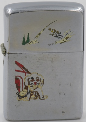 1951 Zippo with the Sports Series skier on the lid and a dog chained to a dog house on the case