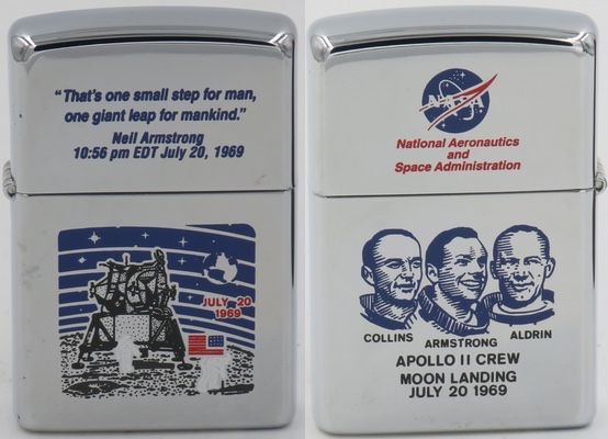 This is a 2002 on which the early Apollo 11 designs have been replicated. The front has the rarer moonlander design and Neil Armstrong's famous quote on the lid, and the reverse has the NASA meatball logo and the 3-man Apollo 11 crew design.