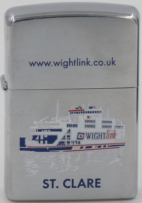 2007 Zippo with a graphic of MV St. Clare, a ferry operated by Wightlink connecting Portsmouth on the English mainland to Fishbourne on the Isle of Wight. The ferry was built in Gdańsk in 2001
