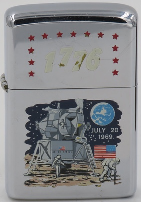 This Zippo is dated 1968. The engraving on the case is the familiar Moonlanding design commemorating the Apollo 11 landing on July 20, 1969 while the 1776 and stars engraved on the lid are designs found on Zippos celebrating the Bicentennial celebration in 1976.