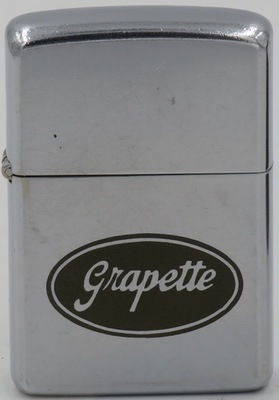 1965 Zippo advertising Grapette. Developed in Camden Arkansas in 1939, it was once one of the bestselling non-cola soft drinks in the United States, Grapette virtually disappeared from the US marketplace for most of the 1970s, 1980s, and 1990s after being bought by a leading competitor