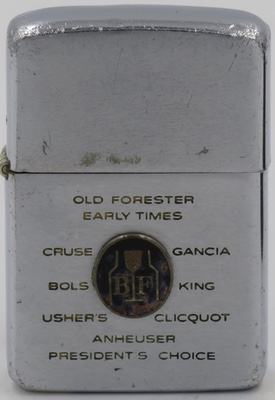 1967 Zippo badge BF Brown Foreman Old Forester Early Times