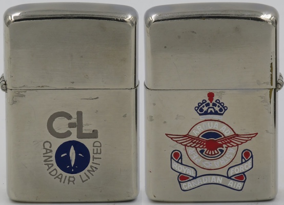 1950's Canadian Zippo. The front advertises Canadair Limited and the reverse has the logo of the Royal Canadian Air Force. C-L was a civil and military aircraft manufacturer in Canada. It was a subsidiary of other aircraft manufacturers, then a nationalized corporation until privatized in 1986, and became the core of Bombardier Aerospace