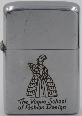 1952-53 Zippo with a line-drawn graphic of a well dressed and coiffed lady with a hand fan advertising The Vogue School of Fashion Design in Chicago