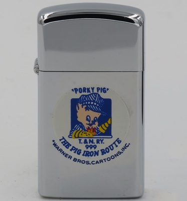 """1975 slim Zippo with Porky Pig for """"T&N RY 999 The Pig Iron Route"""""""