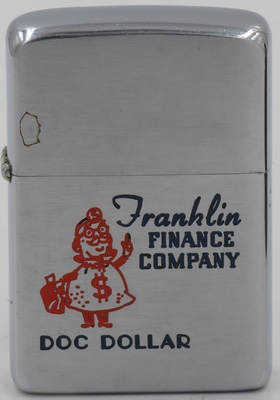 1957 with Doc Dollar, a money bag mascot for Franklin Finance Company
