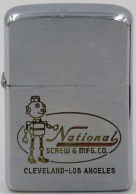 1963 Nut Man for National Screw & Mfg. Co., a Cleveland, Ohio based  manufacturer of screws, nuts and bolts. It was incorporated in 1889 and absorbed by Monogram Industries, Inc. in 1974