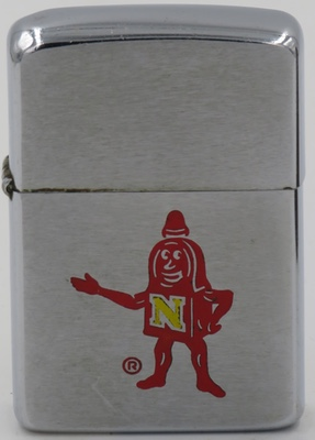 1961 Zippo with a red robot-like character with an N on its chest