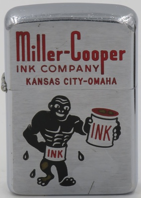 1957 Zippo with a slightly scary looking ink man. Made for Miller Cooper Ink Company in Kansas City and Omaha