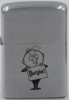 1959 Zippo.  Burgie Man was the mascot for Burgie Brewing, or  Burgermeister Brewing Company of San Francisco, California.  The company was acquired by Schlitz in 1961
