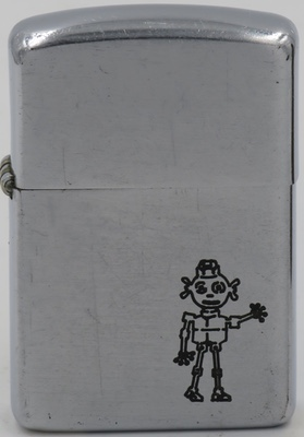 1953 Zippo with a man made of machine nuts.  The nut man is the mascot for National Screw  Company as can be seen on the 1957 lighter on this page