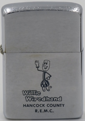 1958 Zippo with Willie Wiredhand for Hancock County R.E.M.C. (Rutherford Electric Membership Cooperative), a rural electric cooperative