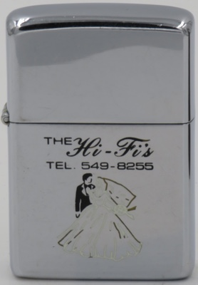 This is a Canadian Zippo from the 1960's with a nice graphic of a wedding couple advertising The Hi-Fi's