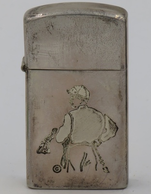 1958 slim Sterling Zippo with a reverse engraved image of a jockey