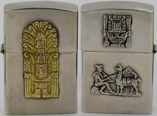 Peru Sterling 925 lighter with 18k gold Raimondi Stela on one side, reverse has small Viracocha on lid and an Indian flutist with llama on bottom