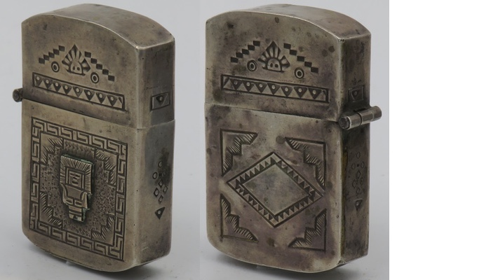 """925 Sterling lighter made in Peru marked """"EEG"""" and """"Industria Peruana"""" with rounded corners, attached small Inca looking god and unusual designs and markings"""