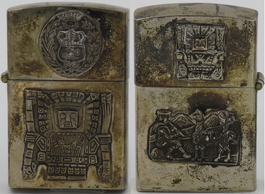 Toned Sterling lighter made in Peru with an attached Peruvian Coat of Arms and Viracocha on the front, and a smaller Viracocha and Indian flutist with a llama on the reverse