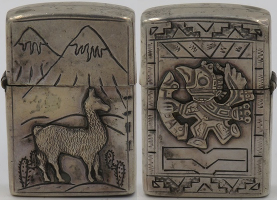 925 Sterling Silver lighter made in Peru with llama, cacti and the Andes on one side, an Inca god and ornate design on the other